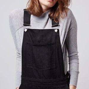TOPSHOP tall black Jean overalls